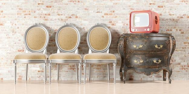 Tv retrô no interior antigo com parede de tijolos antigos em ilustração 3d