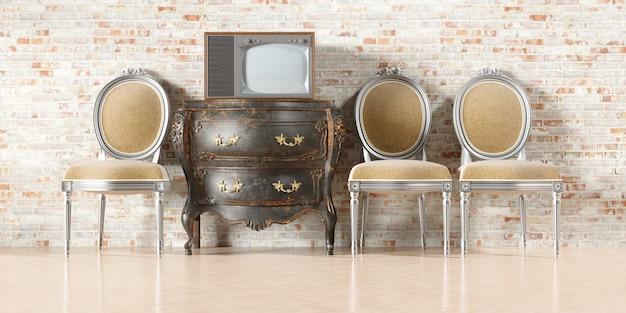 Tv retrô no interior antigo com parede de tijolos antigos na ilustração 3d