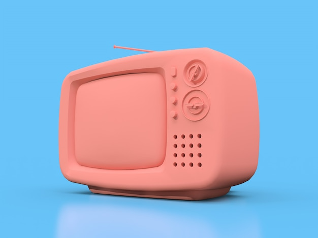 Tv rosa velho bonito com antena