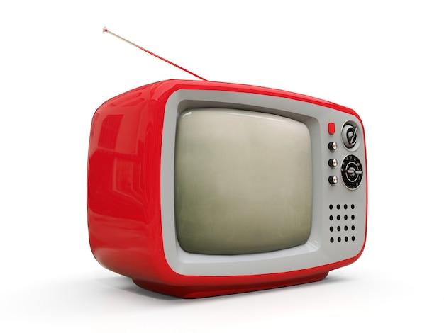Tv vermelha velha bonita com antena. renderização em 3d.