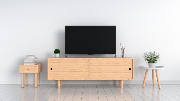 Tv widescreen na sala branca, renderização em 3d
