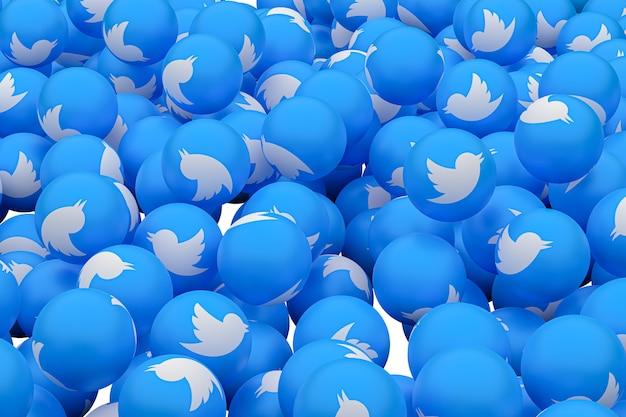 Twitter emoji 3d render fundo, símbolo de balão de mídia social