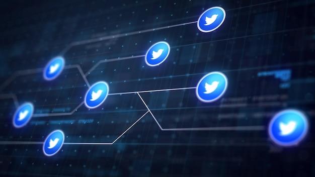 Twitter icon line conexão da placa de circuito