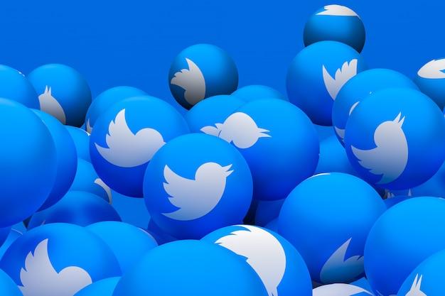 Twitter mídia social emoji 3d render fundo, símbolo de balão de mídia social