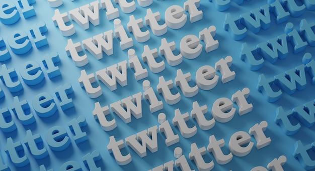 Twitter várias tipografia na parede azul, renderização em 3d