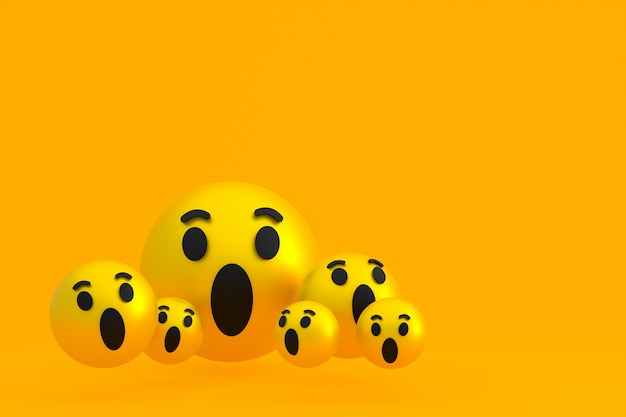 Uau ícone reações do facebook emoji 3d render, símbolo de balão de mídia social em amarelo