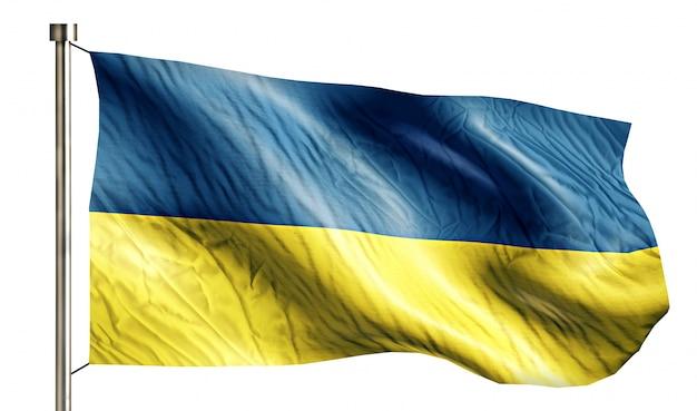 Ucrânia bandeira nacional isolada 3d fundo branco