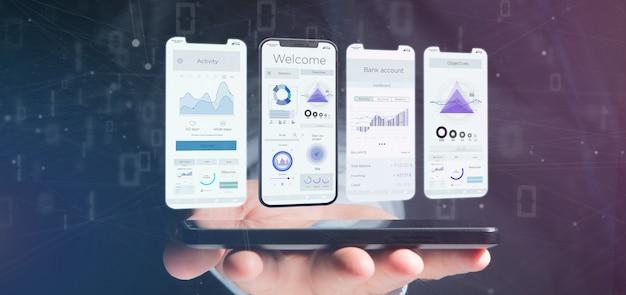 Ui interface de aplicativo em um smartphone - renderização em 3d