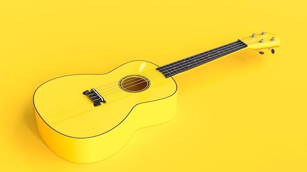 Ukulele amarelo de perto, renderização em 3d