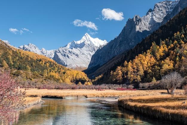 Última shangri-la de chana dorje montanha com floresta de pinheiros coloridos no outono