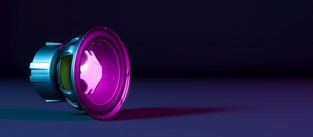 Um alto-falante em um fundo preto em luz de néon, ilustração 3d