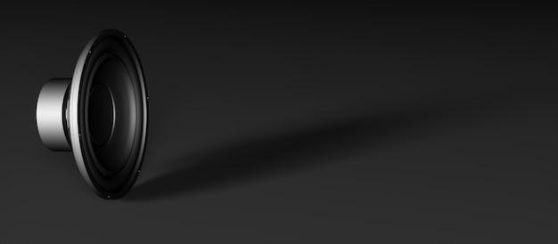 Um alto-falante em um fundo preto no lado esquerdo do quadro, ilustração 3d