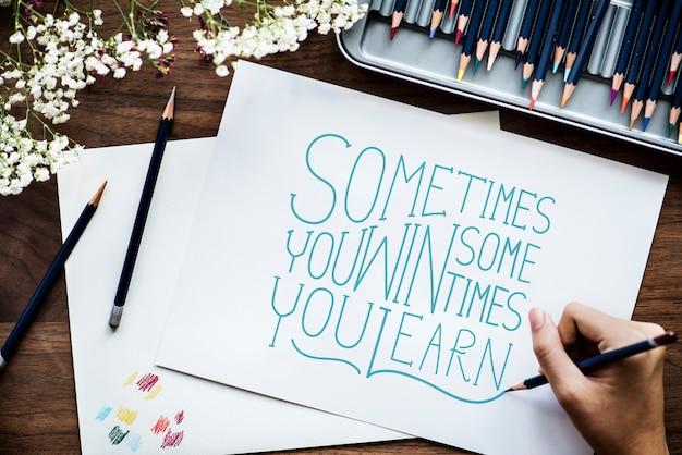 Um, artista, criando, mão, lettering, artwork