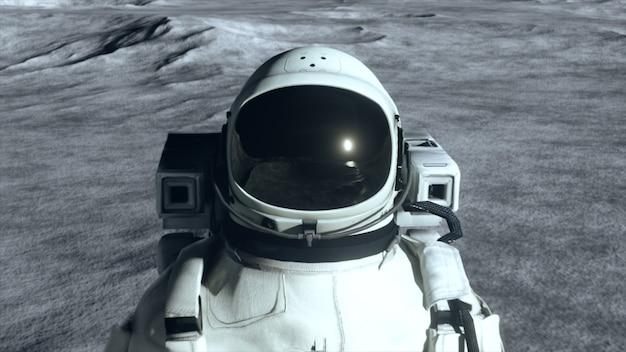 Um astronauta está na superfície da lua entre crateras contra o pano de fundo do planeta terra.