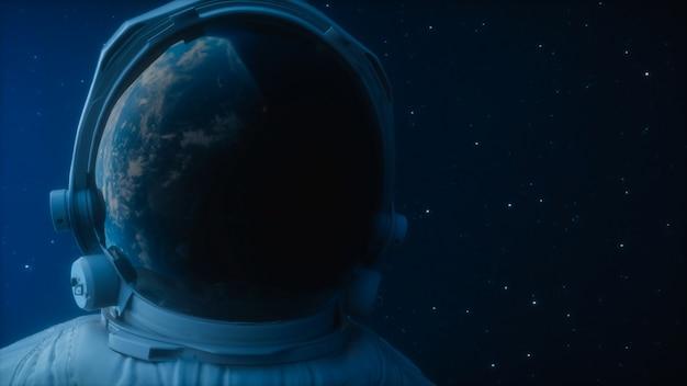 Um astronauta solitário olha para o planeta terra em órbita no espaço sideral