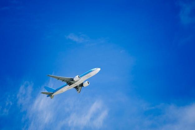 Um avião voando com um céu azul ensolarado