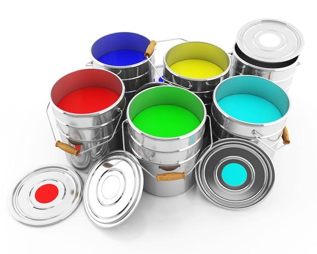 Um balde de tintas coloridas em um branco isolado