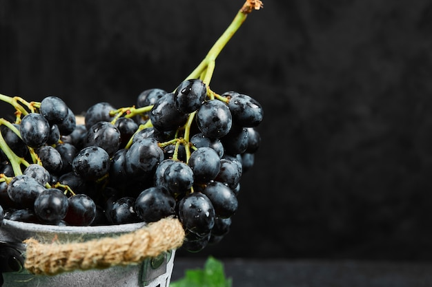 Um balde de uvas pretas com folhas em fundo escuro. foto de alta qualidade