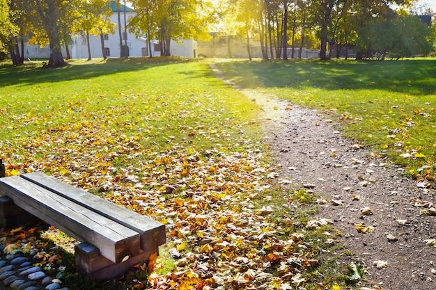 Um banco de madeira velho em um gramado com grama verde e folhas caídas amarelas em um parque de outono