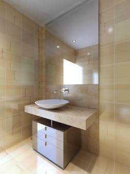 Um banheiro moderno com console da pia em bege e branco navajo