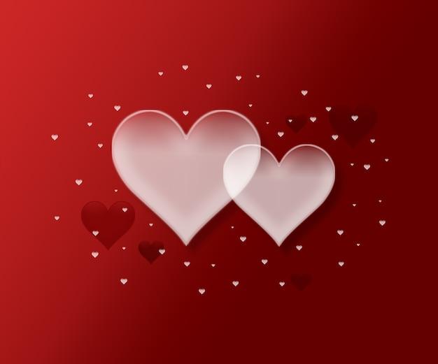 Um banner de pôster para vendas e descontos com uma imagem simples de dois corações em um fundo vermelho e local para texto