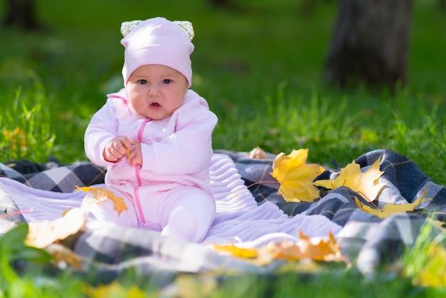 Um bebê com roupas rosa brincando sobre uma manta de piquenique entre as folhas de outono em uma cena de parque.