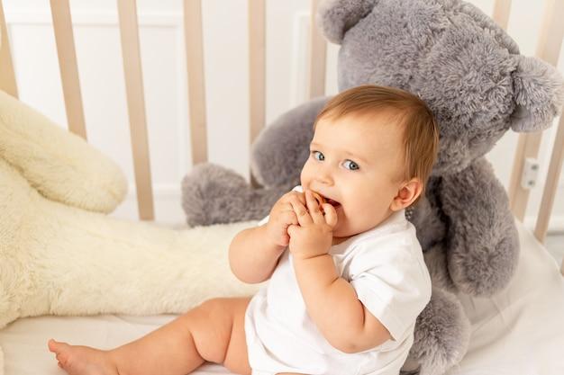 Um bebê de seis meses está sentado em seu berço com grandes ursinhos de pelúcia em uma sala iluminada