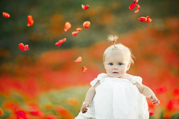 Um bebê fica no campo de papoulas