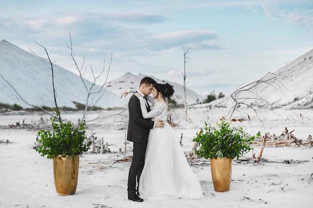 Um belo casal abraços de amantes no deserto branco, uma jovem mulher com penteado de casamento e jóias de luxo e bonito homem brutal de terno e gravata borboleta