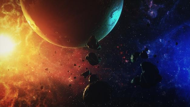 Um belo espaço colorido com asteróides com sons e um planeta