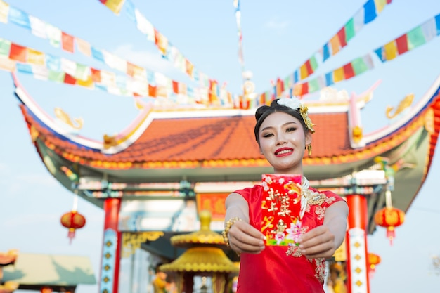 Um, bonito, menina asian, desgastar, um, vestido vermelho
