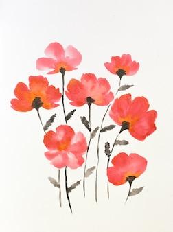 Um buquê de flores em um vaso pintado em aquarela.