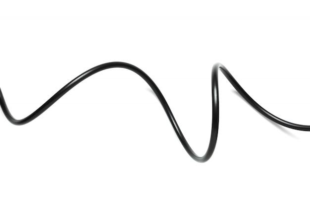 Um cabo de fio preto isolado em um fundo branco