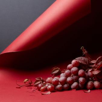 Um cacho de uvas com folhas de uva vermelha