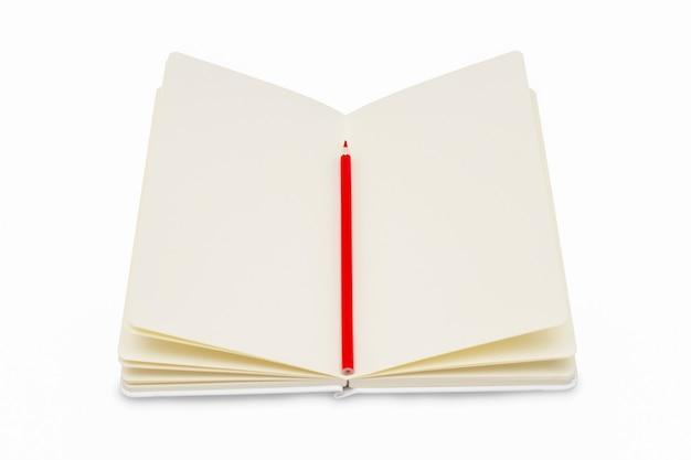 Um caderno aberto com páginas vazias e um lápis vermelho