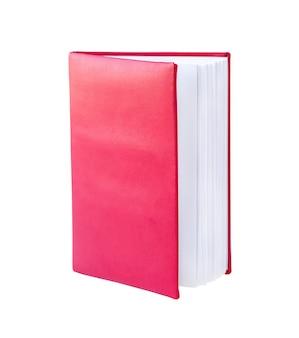 Um caderno vermelho com páginas brancas isoladas em um fundo branco conceito de educação de volta ao conceito de escola