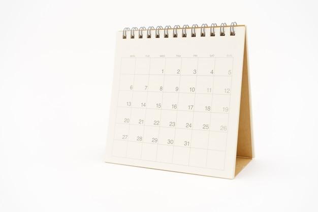 Um calendário branco em branco
