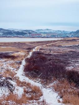 Um caminho de gelo impossível através da winter tundra.