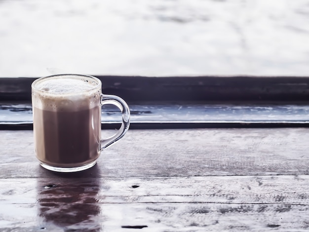 Um, cappuccino, em, claro, copo
