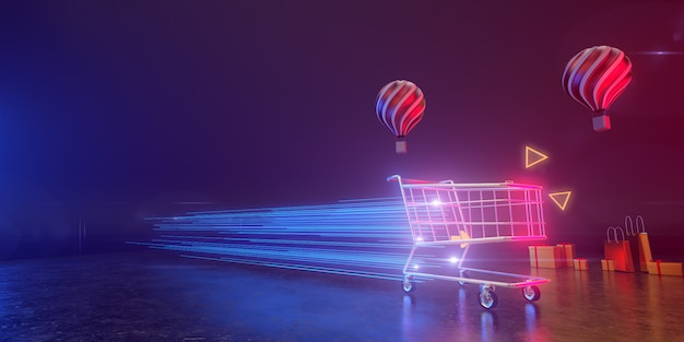 Um carrinho de compras se move à velocidade da luz em um pano de fundo com balões e caixas de presente. todos vivem em uma atmosfera futurista. 3d render.