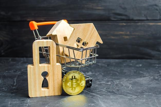 Um carrinho de supermercado com casas e bitcoin e um cadeado. valor de crescimento
