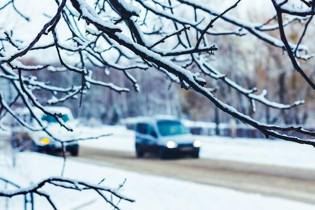 Um carro é visível atrás da neve coberto por um galho