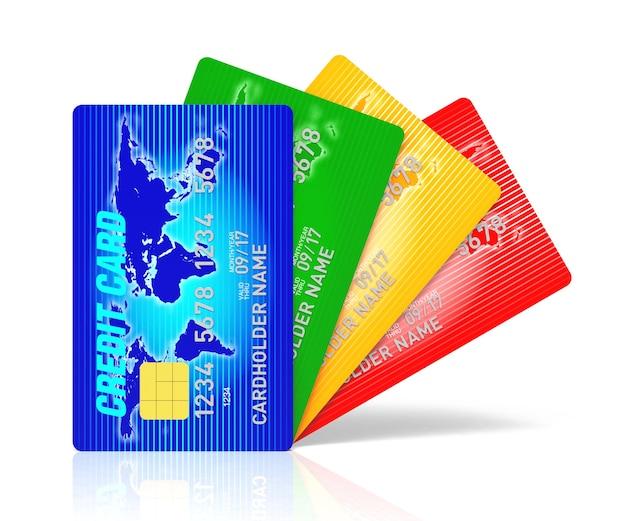 Um cartão de crédito azul com renderização 3d com cofre