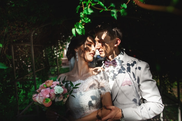 Um casal amoroso de noivos abraça suavemente à sombra das árvores