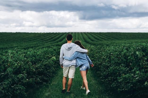 Um casal amoroso terno andando em um campo de groselha. vista traseira da mulher com cabelos longos leva um homem, segurando sua mão