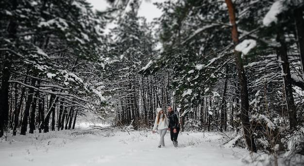 Um casal se abraça em um bosque nevado contra um fundo de árvores