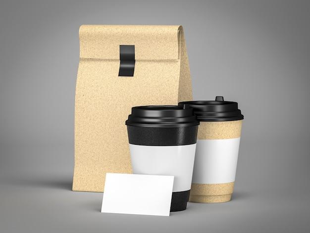 Um casal tira uma xícara de café e um modelo de sacola de lanche para a renderização 3d de logomarca
