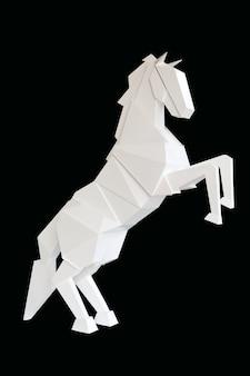 Um cavalo de madeira isolado em fundo preto