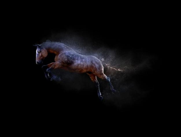 Um cavalo em movimento e pulando com efeito de partícula de poeira em fundo preto
