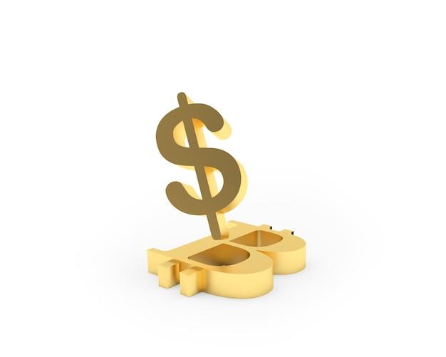 Um cifrão dourado fica em um símbolo de bitcoin